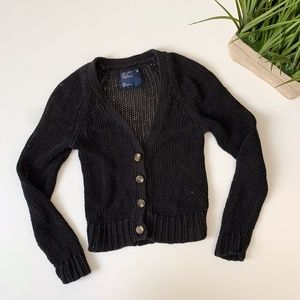 American Eagle Knit Button Up Cardigan Black Small